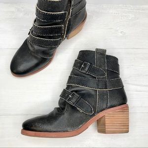 Kelsi Dagger | Distressed Leather Booties Sz. 6.5